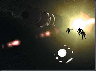 Seres saem da nave e vão em direção à Salyut 6 (Foto: Revista UFO nº 83)