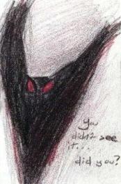 """""""Você não viu... viu?"""": Desenho feito por uma das primeiras testemunhas (Foto: Mothmen.us)"""