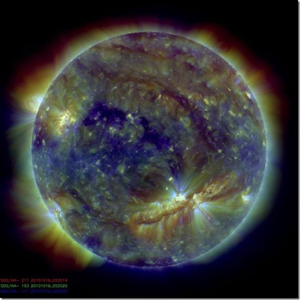 Imagem da sonda SDO divulgada nesta quinta-feira (21/10/2010) (Foto: NASA)