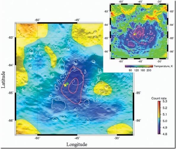 Mapa da abundância de hidrogênio em Cabeus; acima temperaturas no subsolo; dados: LRO; locais de impacto estão demarcados por estrelas: verde para LCROSS e amarelo para o foguete (Foto: Science/AAAS)