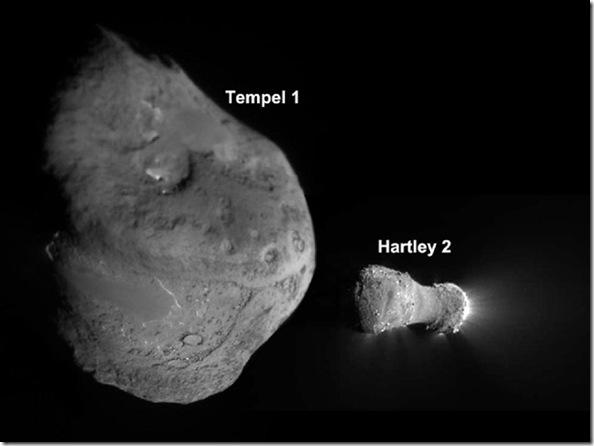 Nucleos dos cometas visitados pela Deep Impact; fotografias tiradas pela sonda (Foto: NASA/JPL-Caltech, UMD)