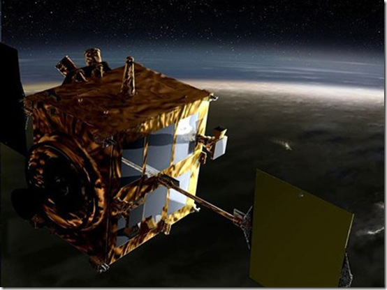 Concepção artística da sonda Akatsuki em órbita de Vênus (Foto: Akihiko Ikeshita / JAXA)