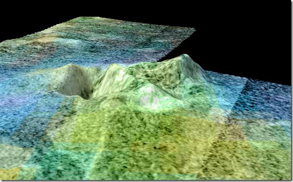 Imagem baseada em dados da sonda Cassini mostra area de Sotra Facula, em Titã (Foto: NASA/JPL-Caltech/USGS/University of Arizona)