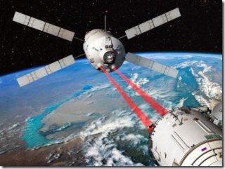 Ilustração da aproximação guiada a laser do ATV-2 (Foto via Último Segundo / Ig)