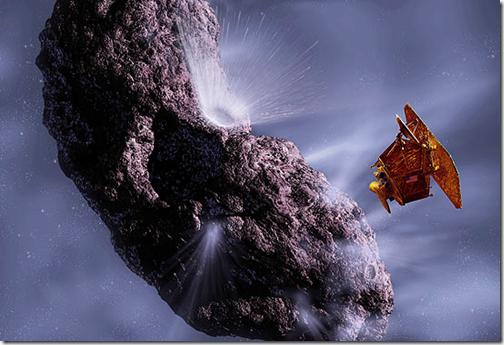 Ilustração mostra como foi a aproximação da sonda Stardust-NExt e o cometa Tempel 1 (Foto: NASA)