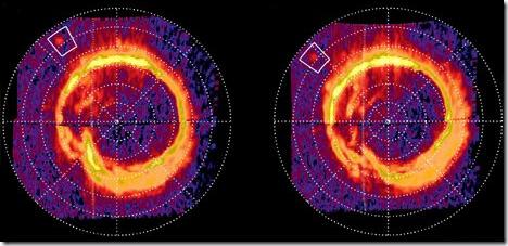 Auroras de Saturno; mancha em destaque parece ser causada por interação com encélado (Foto: JPL/NASA)
