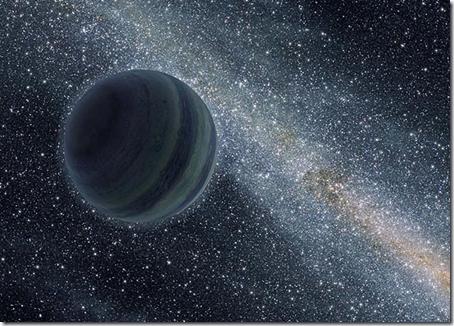 Concepção artística de planeta vagando solitário (Foto: Associated Press)