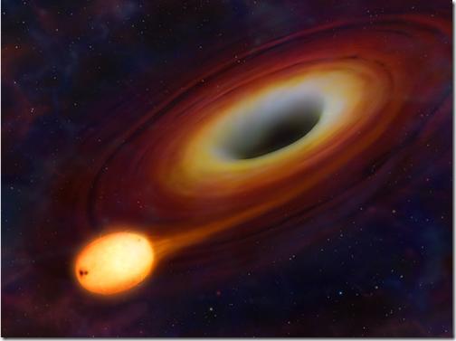 """Estrela é """"engolida"""" após contato com buraco negro (Foto: Mark A. Garlick / Universidade de Warwick)"""