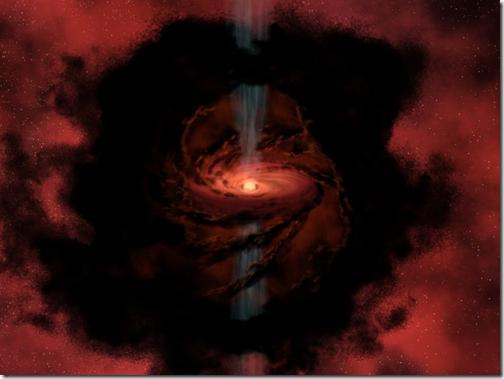 Nasce uma estrela: o gás e poeira estimulando jatos polares, em tom azulado (Foto via UFO Notícias)