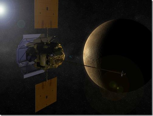 Concepção artística da MESSENGER em órbita de Mercúrio (Foto: NASA)