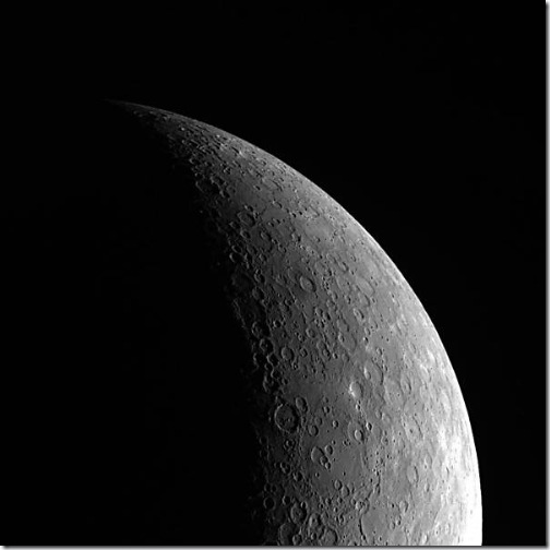 Mercúrio fotografado pela MESSENGER (Foto: NASA)
