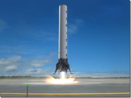 Animação de primeiro estágio de foguete pousando verticalmente (Foto via R7)