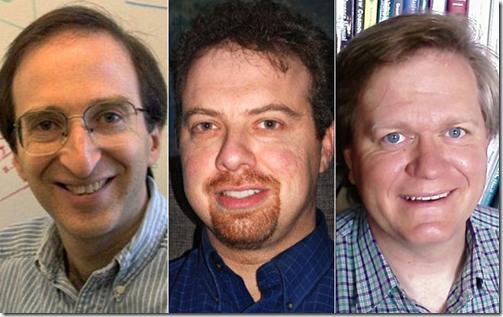 Saul Permutter, Adam Riess e Brian Schmidt (Foto via G1)
