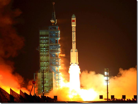 Laçamento do módulo Tiangong-1 (Foto: AFP)