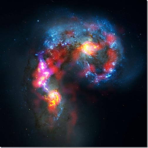 Galáxia da Antena vista pelo ALMA (Foto: ALMA (ESO/NAOJ/NRAO) / Imagem de luz visível: Hubble Space Telescope (NASA/ESA))