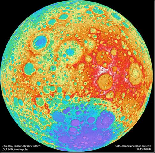 Mapa topográfico lunar produzido pela LRO (Foto: NASA)