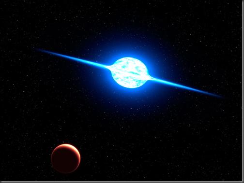 Ilustração da estrela de rotação mais rápida conhecida, em azul (Foto: G. Bacon/ESA/NASA)