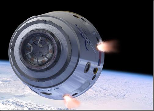 Iluatração da Dragon pouco antes de retornar à atmosfera (Foto: SpaceX)