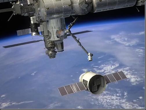 Concepção artística da Dragon se aproximando da ISS (Foto: SpaceX)