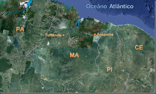 Anapurus e Tufilândia, MA, onde caíram os objetos (Foto: Google Earth / Edição: Ediardo Oliveira)