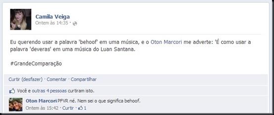 Postagem no Facebook de Camila; namorado ajudou em composição