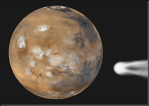 (Marte: NASA/JPL/MSSS; Cometa Halley: Hale Observatory; arte: Phil Plait)