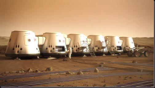 Ilustração de astronautas na colônia marciana Mars One (Foto: Mars One / Bryan Versteeg)