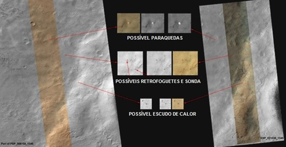 Imagens da MRO mostram possíveis componentes da missão soviética Mars 3, de 1971 (Foto: NASA/JPL-Caltech/Univ. do Arizona)