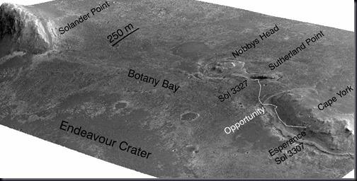 Simulação baseada em imagens 3D feitas por sonda orbital mostrando a borda oeste da Cratera Endeavour e proximidades; vista aponta para o sudoeste; exagero vertical de 5 vezes (Foto: NASA/JPL-Caltech/UA/OSU)