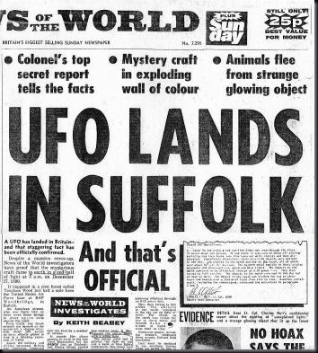 """Manchete do """"News of the World"""": """"OVNI pousa em Suffolk"""" (Foto via IanRidpath.com)"""