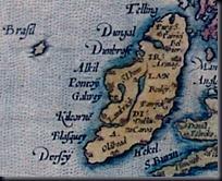 Hy Brasil em mapa da Irlanda de Abraham Ortelius de 1572 (Foto via Wikipedia)
