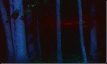 Simulação de estranha luz vermelha vista por Halt e seu grupo (Foto: History Channel)