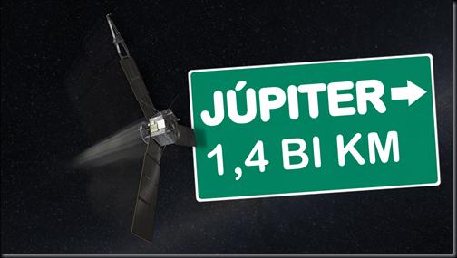 Juno está a meio caminho de Júpiter (Foto: NASA/JPL-Caltech; Tradução: Eduardo Oliveira)
