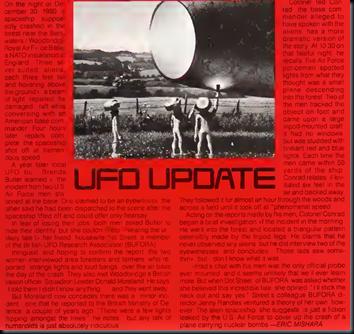 """Parte da página 115 da """"OMNI Magazine"""" de março de 1983 com uma reportagem sobre o incidente de Rendlesham (Foto: OMNI Magazine)"""
