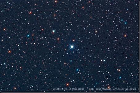 Foto da Nova Delphini 2013 feita por John Chumack em 14/08/2013 a partir de seu observatório em Yellow Springs, Ohio (Foto: John Chumack)
