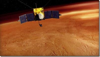 Ilustração da MAVEN em órbita de Marte (Foto: LASP)