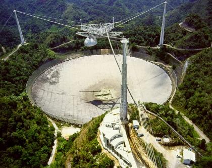 O radiotelescópio de Arecibo, em Porto Rico