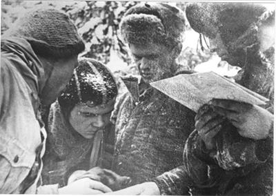 Da esq., Michael Sharavin, Vladimir Strelnikov, Boris Slobcov e Vyacheslav Chalizov em 25/02/1959 (Foto: V. Brusnicin)