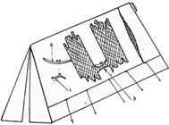 Desenho mostrando como a barraca foi aberta