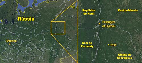 Localização da Passagem de Dyatlov (Foto: Google Earth / Arte: Eduardo Oliveira)