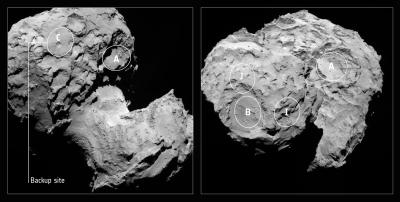 Duas imagens feitas pela câmera OSIRIS, da Rosetta, em 16 de agosto a 100 km, mostrando os cinco candidatos a locais de pouso. (Crédito: ESA/Rosetta/MPS for OSIRIS Team MPS/UPD/LAM/IAA/SSO/INTA/UPM/DASP/IDA)