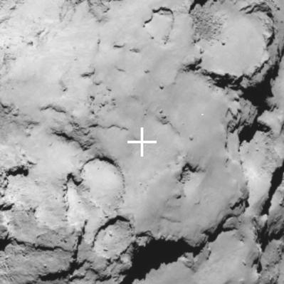 Local de pouso reserva da Philae em imagen da câmera de ângulo estreito da Rosetta a cerca de 70 km com resolução de 1,5 m por pixel. (Crédito: ESA/Rosetta/MPS for OSIRIS Team MPS/UPD/LAM/IAA/SSO/INTA/UPM/DASP/IDA)