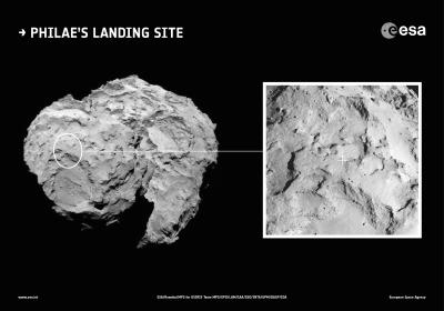 Local de pouso J em contexto geral em imagens pela câmera OSIRIS, da Rosetta. A imagem à esquerda foi feita em 16 de agosto a 100 km e à direita quatro dias depois a 67 km. A escala é 1,2 m por pixel. (Crédito: ESA/Rosetta/MPS for OSIRIS Team MPS/UPD/LAM/IAA/SSO/INTA/UPM/DASP/IDA)