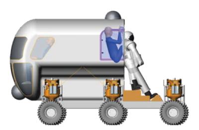 Animação de astronauta entrando em traje através de suitport; NASA estuda a ideia de levar jipes pressurizados com suitports para Marte e Lua (Foto: NASA)